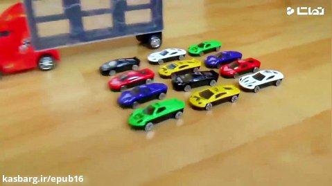 ماشین بازی کودکانه با سنیا : تریلی حمل ماشین های کوچک اسپرت