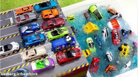 ماشین بازی کودکانه جدید : سقوط ماشین ها به داخل دریاچه ژله ای